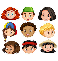 Different faces of boys and girls vector