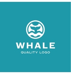 Diving with whale fin abstract sign icon vector