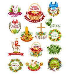 Easter holiday label badge and symbol set vector