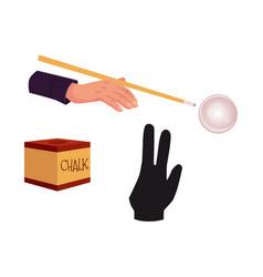 Flat billiard snooker symbols set vector