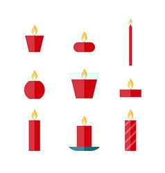 Flat icons Christmas candles vector image