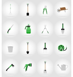 garden tools flat icons 17 vector image vector image