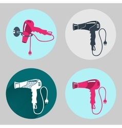 Hair-drier icon set Professional blow hairdryer vector image vector image
