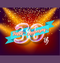 Happy 30th anniversary glass bulb numbers set vector