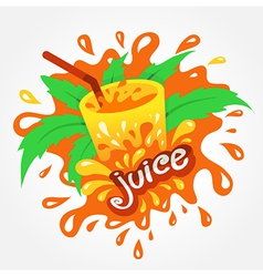 juice drink beverage splash orange vector image vector image