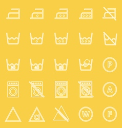 Laundry line icons on yellow background vector