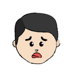 Line cartoon man face sad expression vector