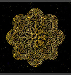 mandala gold round ornament pattern on black vector image vector image