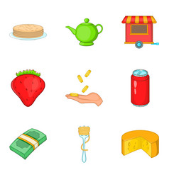 masterpiece food icons set cartoon style vector image
