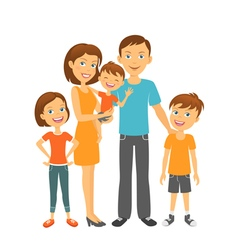 Mother and father with children happy family vector