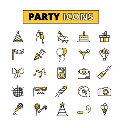 Party pictograms oitlined icons set vector