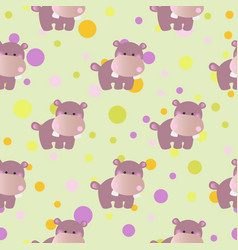 pattern with cartoon cute toy baby behemoth vector image vector image