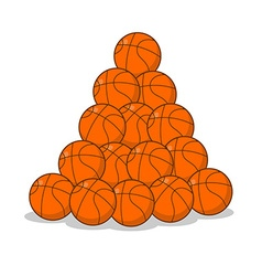 Pile of basketball ball many of orange balls vector image