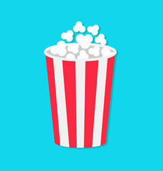 Popcorn round bucket box movie cinema icon in vector