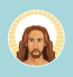 portrait jesus christ stamp vector image