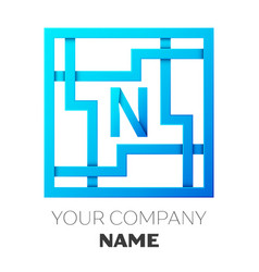 Realistic letter n logo in colorful square maze vector