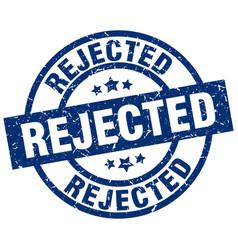 Rejected blue round grunge stamp vector