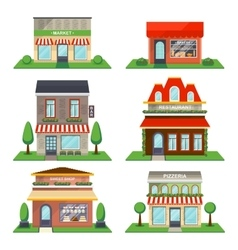 Restaurant and shop facade isolated set vector