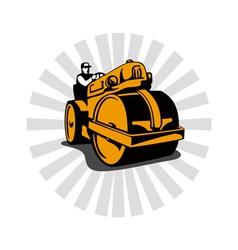 Road roller compactor vector