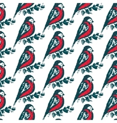 Seamless pattern with hand drawn bullfinch birds vector