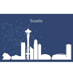 Seattle city skyline on blue background vector image