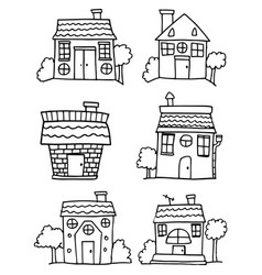 Set of house hand draw collection vector