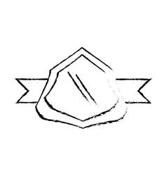 Shield decorative emblem and ribbon sketch vector
