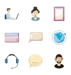 Technical consultation icons set cartoon style vector