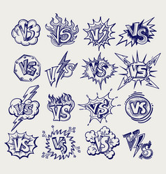 versus ballpoint pen sketch labels collection vector image vector image