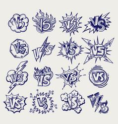 Versus ballpoint pen sketch labels collection vector