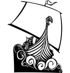 Viking longship sailing b vector