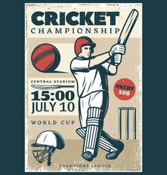 vintage cricket championship sport poster vector image vector image