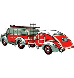 Wooden Station Wagon trailer vector image vector image