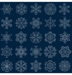 vintage snowflake set in zentangle style 25 vector image