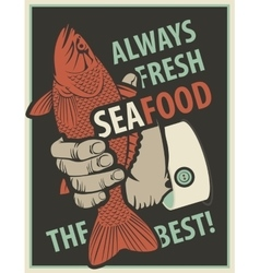 Seafood with fish in man hand vector