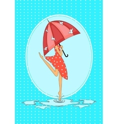 Seasonal card with girl in the rain vector