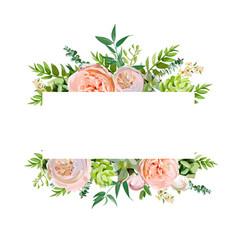 Floral design horizontal card design soft pink vector