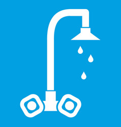 Dripping tap icon white vector