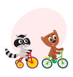 Cute little raccoon and bear characters riding vector