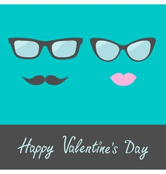Glasses with lips and moustache happy valentines vector