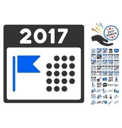 2017 holiday calendar icon with 2017 year bonus vector