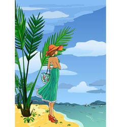 Elegant lady in hat and long dress on beach vector
