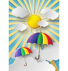Colorful umbrella with sun vector