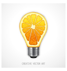 Orange light bulb vector image