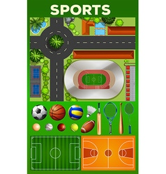 Different kind of sport equipments and courts vector