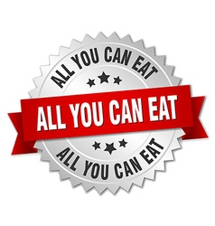All you can eat 3d silver badge with red ribbon vector