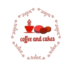 Coffee and cakes label logo vector