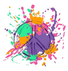 Peace sign over colorful grunge background vector