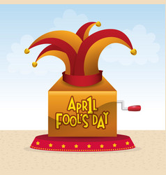 April fools day hat joker box vector