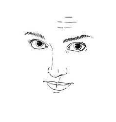 Art drawing portrait of gorgeous girl with vector